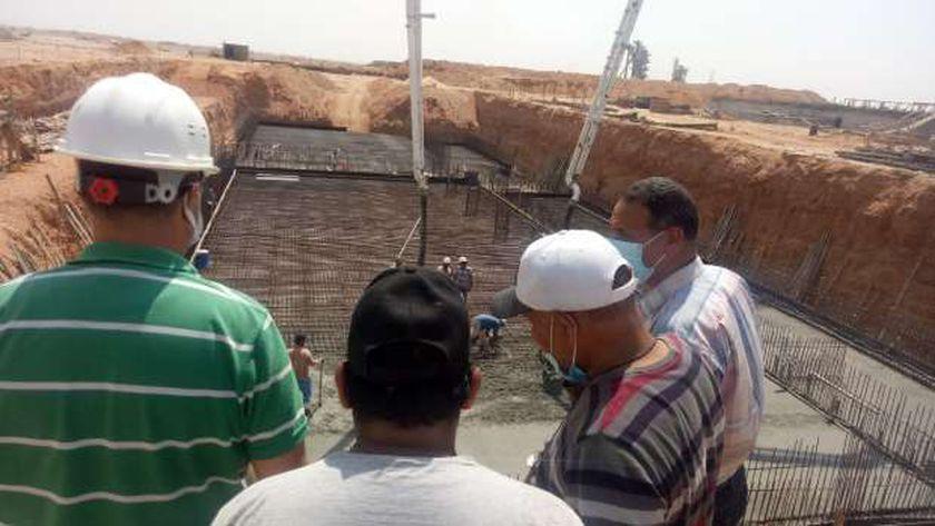 صب الخرسانة المسلحة لعنبر الطلمبات بمحطة المياه الجديدة بمدينة بدر