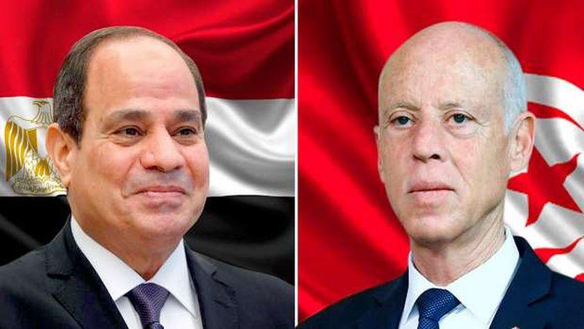 الرئيس التونسي قيس سعيد والرئيس عبدالفتاح السيسي