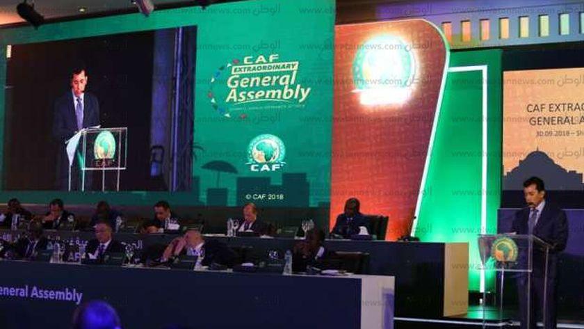 وزير الشباب والرياضة يلقي كلمته أمام الاتحاد الإفريقي