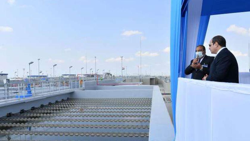 السيسي اليوم أثناء افتتاح محطة بحر البقر لتحلية المياه