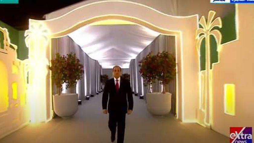 الرئيس عبدالفتاح السيسي خلال مشاركته في إطلاق مشروع حياة كريمة أمس