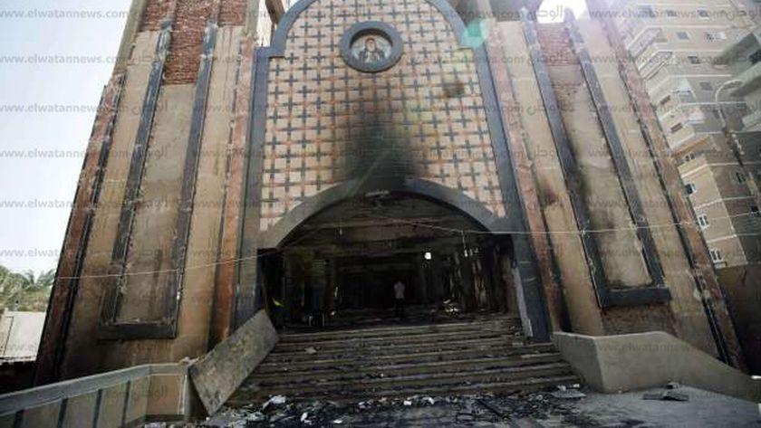 الدمار لحق بإحدى الكنائس عقب ثورة 30 يونيو