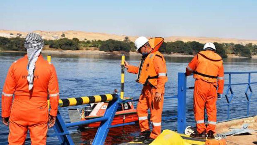 صورة «طيبة 6».. تدريب عملي لمكافحة تلوث بترولي في نهر النيل بأسوان – المحافظات