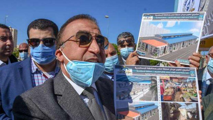 محافظ الإسكندرية يشرح تطوير محطة مصر