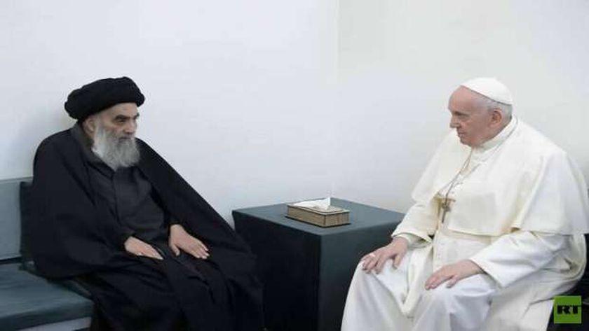 لقاء بابا الفاتيكان مع المرجع الشيعي الأعلى على السيستاني في النجف