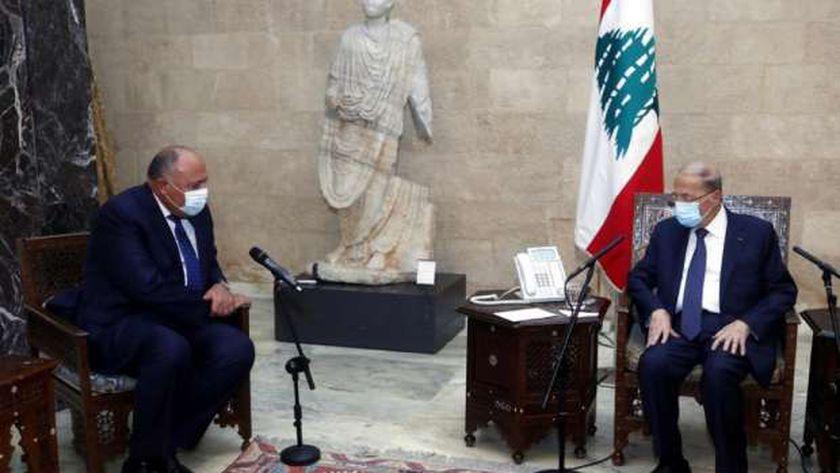 الرئيس اللبناني ميشال عون يستقبل وزير الخارجية سامح شكري