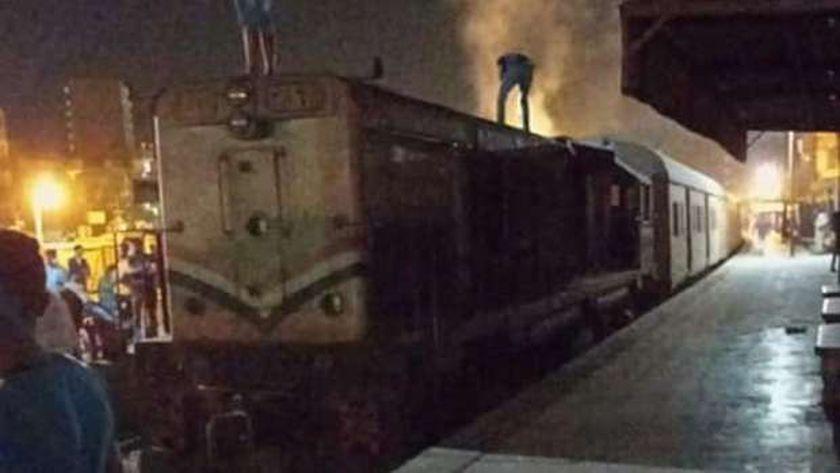 جريق جرار قطار في الدقهلية