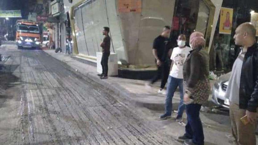 ترميم شوارع التحويلات المرورية لمشروع كوبري 45 الجديد