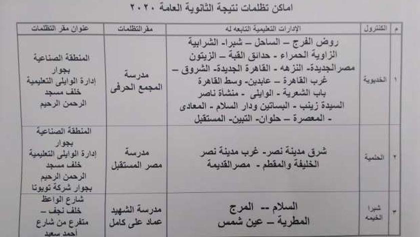 أماكن تظلمات الثانوية العامة بالقاهرة