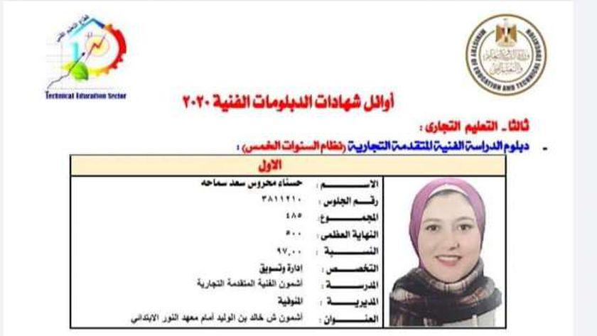 الطالبة حسناء محروس