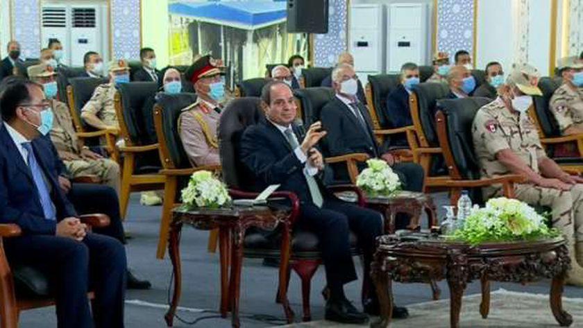 الرئيس السيسي خلال افتتاح عدة مشروعات تخدم سيناء