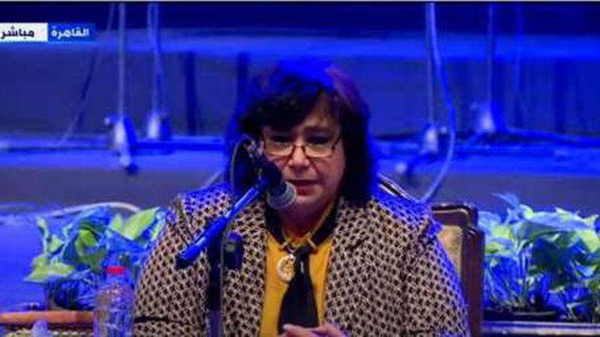 الدكتورة إيناس عبد الدايم وزيرة الثقافة خلال إلان تفاصي جائزة المبدع الصغير
