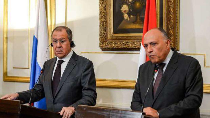 مؤتمر صحفي سابق بين لافروف وسامح شكري