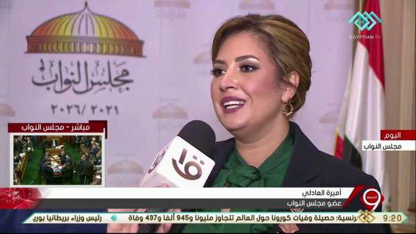 النائبة أميرة العادلي، عضو مجلس النواب عن تنسيقية شباب الأحزاب والسياسيين