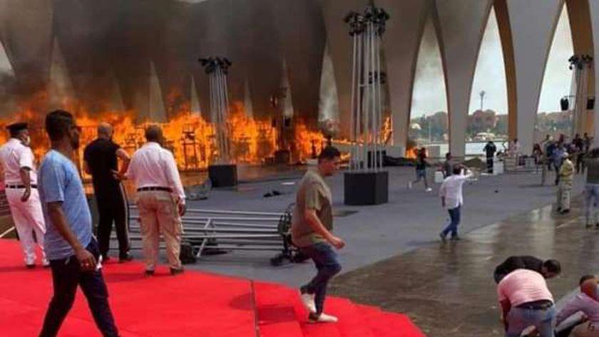حريق القاعة الرئيسية لمهرجان الجونة