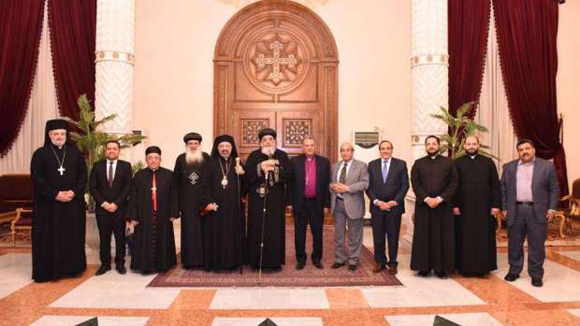 رؤساء الطوائف المسيحية وممثلوهم القانونيون بعد اجتماعهم فى الكاتدرائية