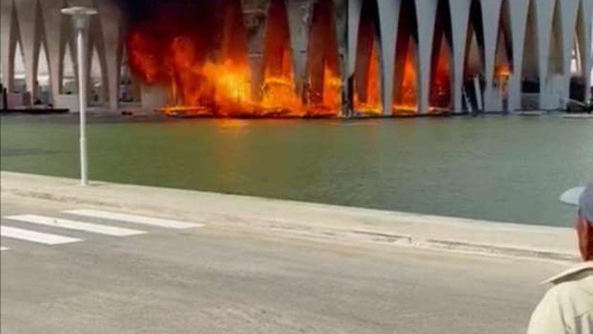 مشهد من حريق قاعة افتتاح مهرجان الجونة