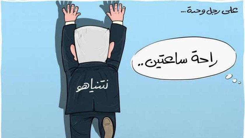 """رسوم ساخرة من حملة حماس """"علي رجل واحدة"""""""