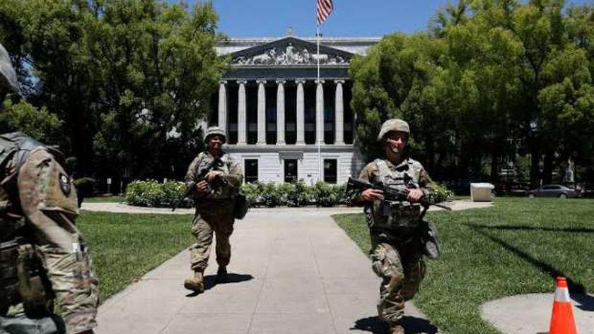 عناصر من الجيش الأمريكى انتشرت فى واشنطن قبل حفل تنصيب «بايدن»