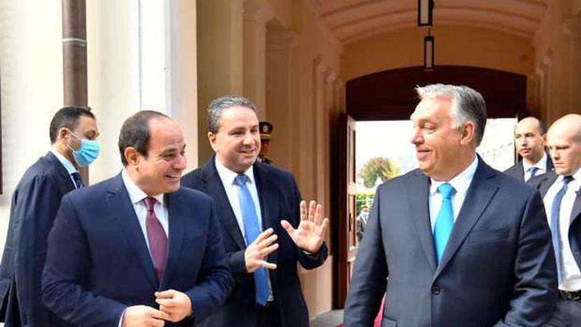 رئيس وزراء المجر خلال استقباله الرئيس السيسى