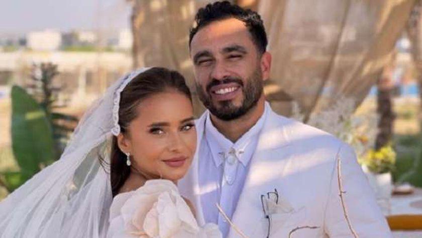 نيللي كريم في حفل زفافها على هشام عاشور