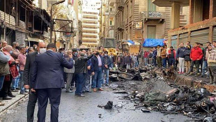 محافظ القاهرة يتفقد حريق التوفيقية
