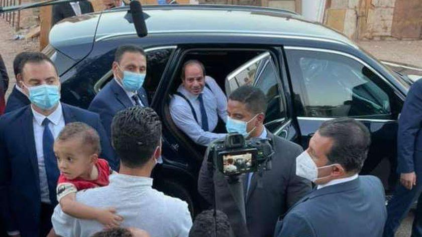 الرئيس السيسي خلال زيارته للرويسات