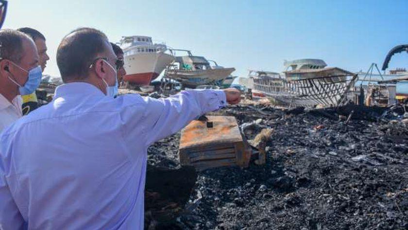 موقع حريق ورش السفن ببحري الإسكندرية