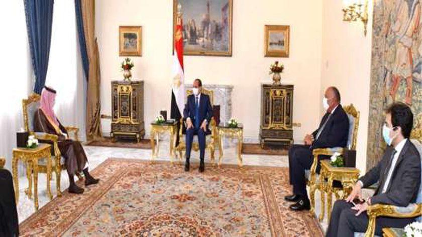 الرئيس عبد الفتاح السيسي خلال لقاءه وزير الخارجية السعودي