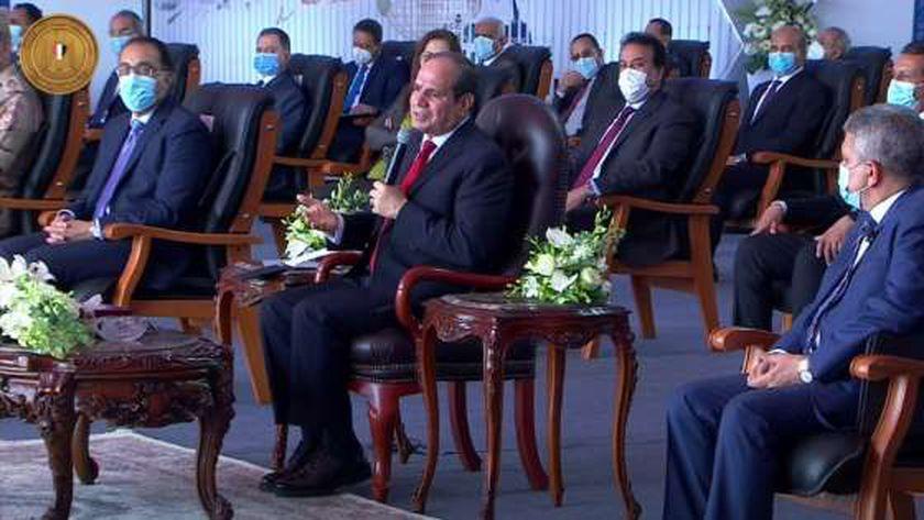 جانب من افتتاح الرئيس السيسي لعدد من مشروعات قناة السويس