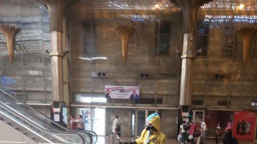 تعقيم وتطهير صالة محطة مصر لمواجهة كورونا