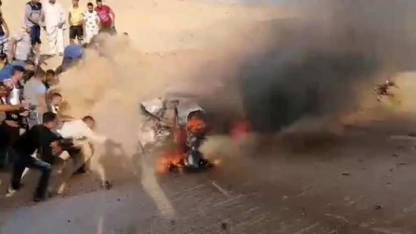 انفجار سيارة ملاكي علي طريق الإسماعيلية فايد