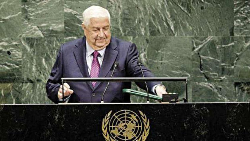 وليد المعلم خلال كلمته أمام الجمعية العامة للأمم المتحدة العام الماضى
