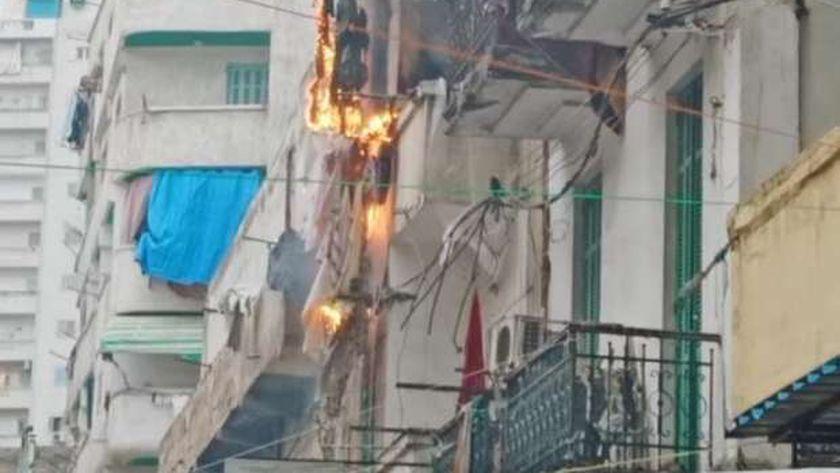 حريق في شقه سكنيه في الإسكندرية