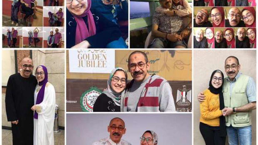 الأب محمد رزق وابنته طالبة الثانوية العامة