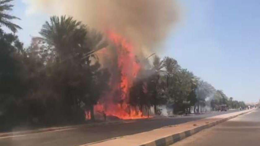 حريق طريق المطار بالغردقة