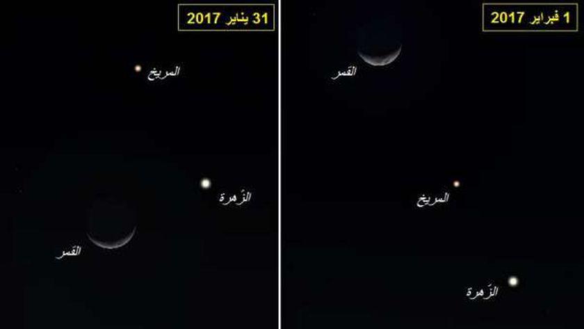 مرصد القطامية: اقتراب كوكبي الزهرة والمريخ غداً ظاهرة تستحق المشاهدة