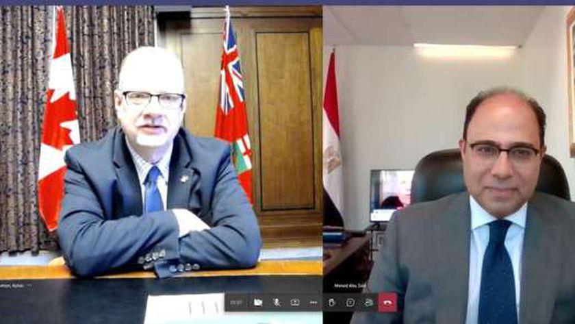 السفير أحمد أبو زيد وكلفن جورتزن نائب رئيس وزراء مقاطعة مانيتوبا