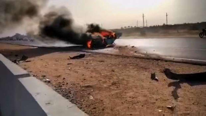 السيارة المشتعلة