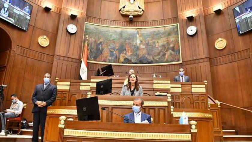 وزيرة التخطيط خلال الجلسة