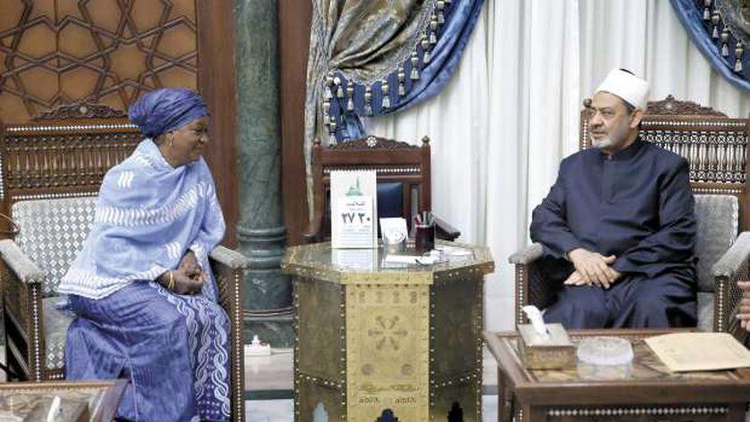 شيخ الأزهر أثناء استقبال الممثل الخاص للأمين العام للأمم المتحدة أمس