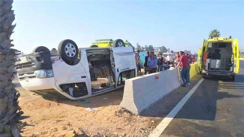 حادث انقلاب سيارة في الدقهلية