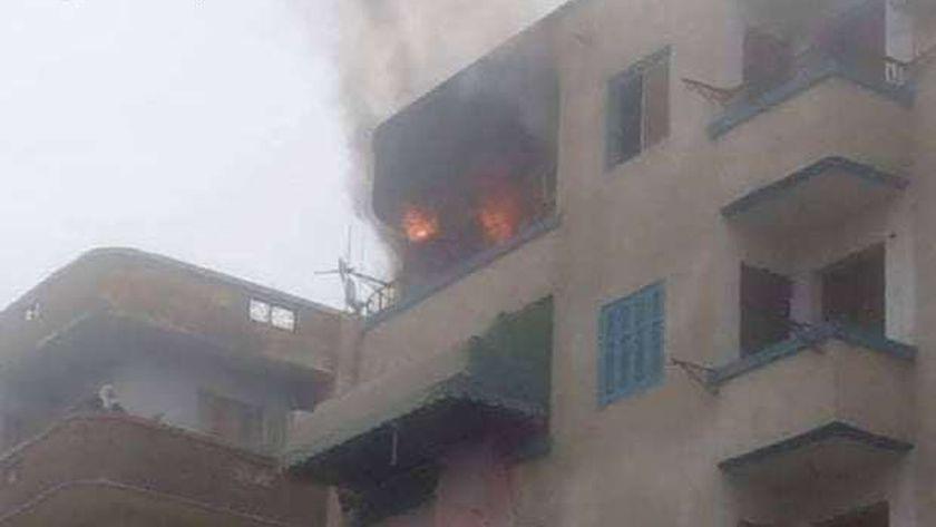 حريق بوحدة سكنية