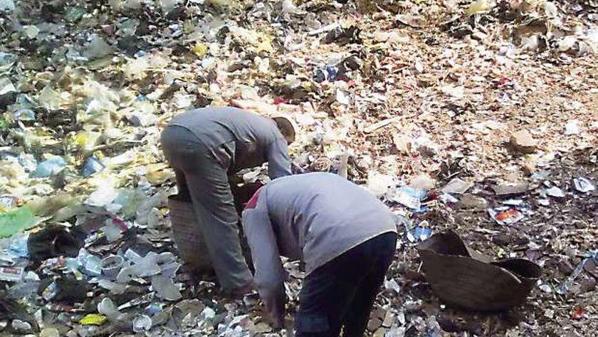 «سالم وشكرى» أثناء عملهما فى نظافة السبتية