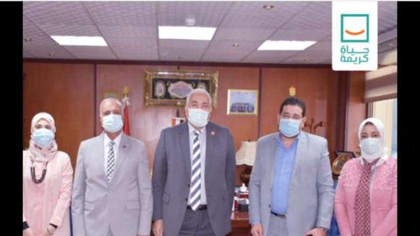 لقاء بين أعضاء مؤسسة «حياة كريمة» بالمنوفية ورئيس جامعة مدينة السادات ونائبه