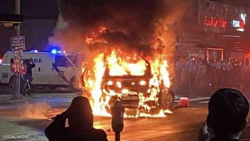 صورة من الاحتجاجات مساء أمس