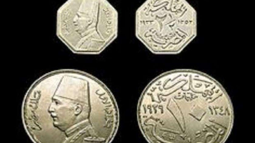 صورة أرشيفية -عملات مصرية فضه